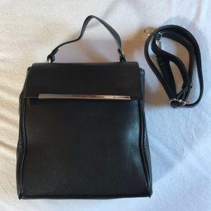Handbags - Black faux leather handbag with removable strap.
